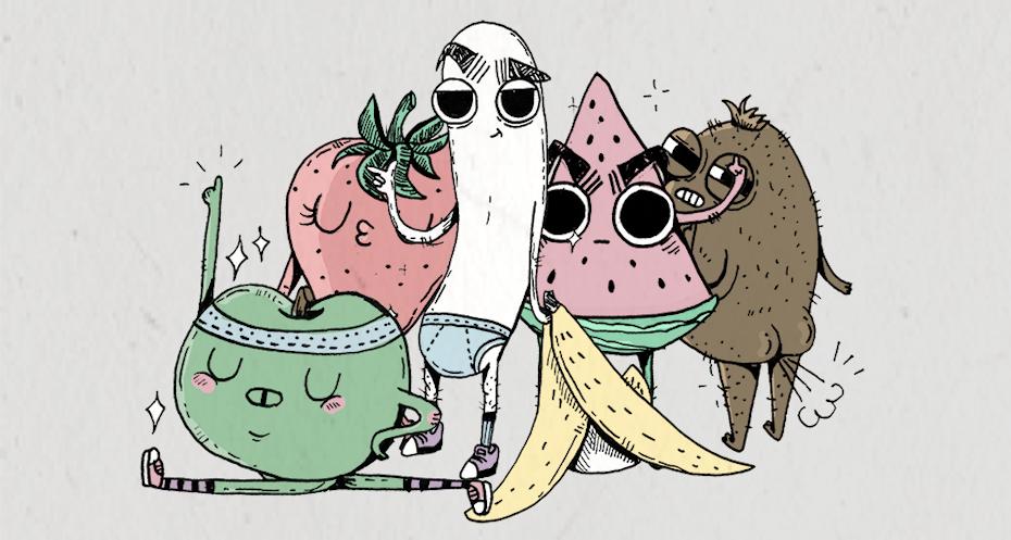 大型水果emoji设计插图