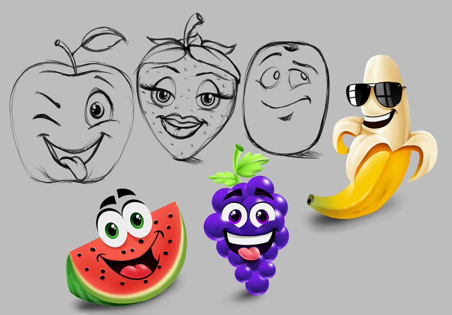 Fruit emoji design and sketches