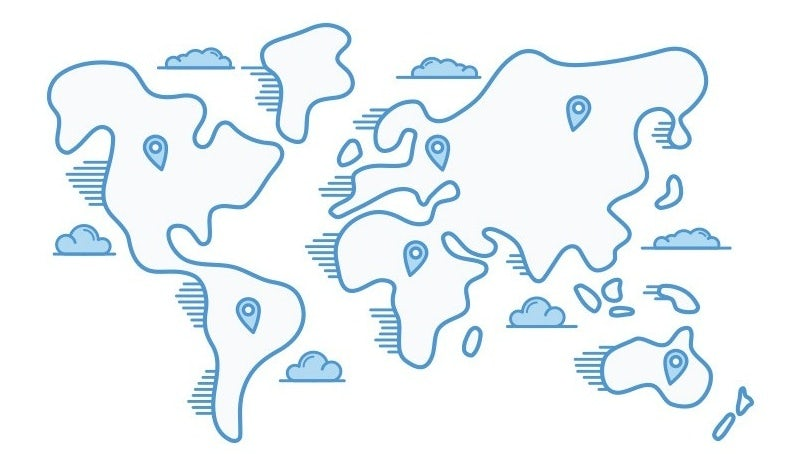 Illustration of the world on a flat map