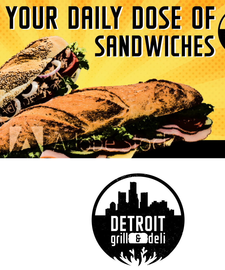 colorful lofi photo of a sandwich and a round logo