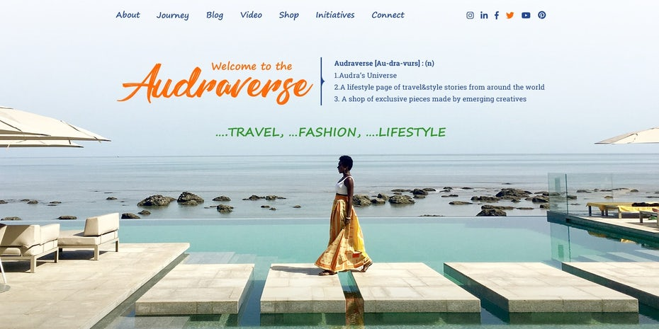 colorful travel website