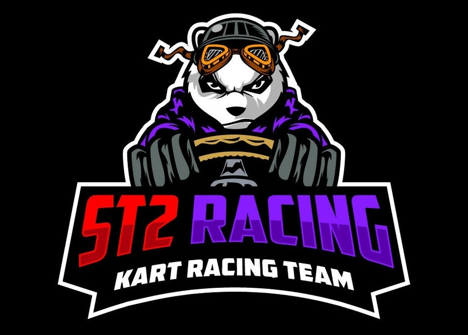 Logo design for cart racing with a panda character