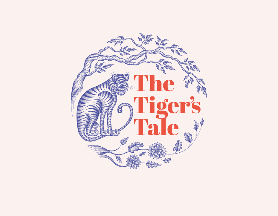 """Line drawn logo of a tiger sitting under a tree, entitled """"The Tiger's Tale"""""""
