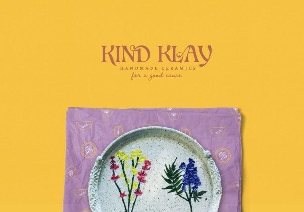 lilac and mustard logo design for homemade ceramics brand