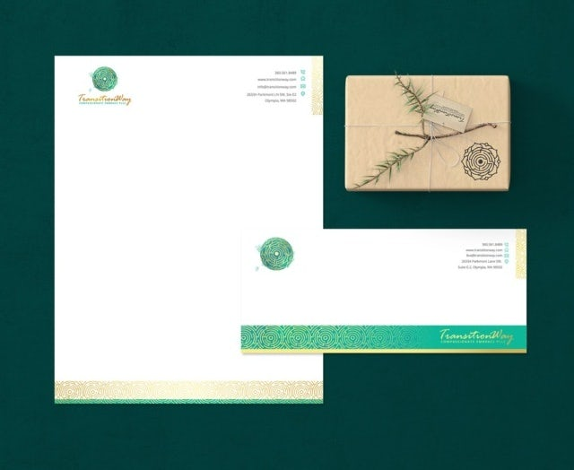 green, white and gold brand and stationery pack