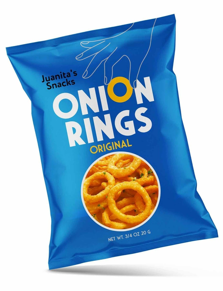 Onion rings in a blue bag
