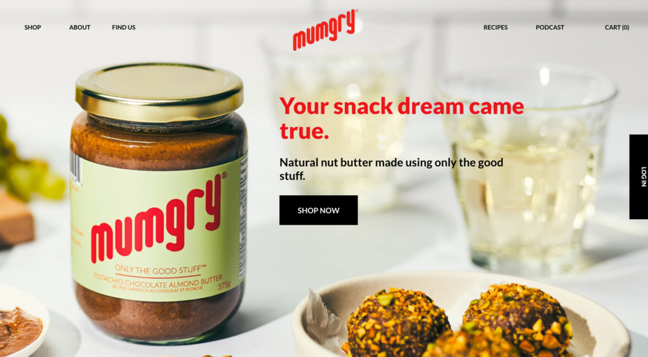 screenshot of mumgry homepage