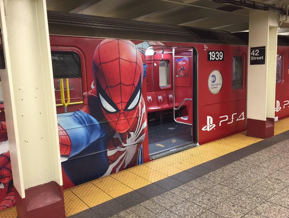 Spiderman game subway ad