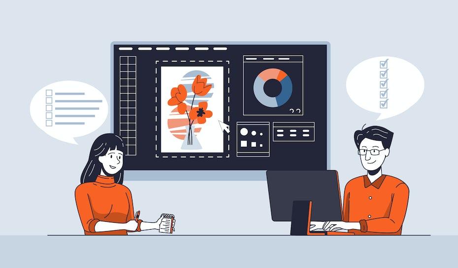 illustration of two people working on website mockup designs