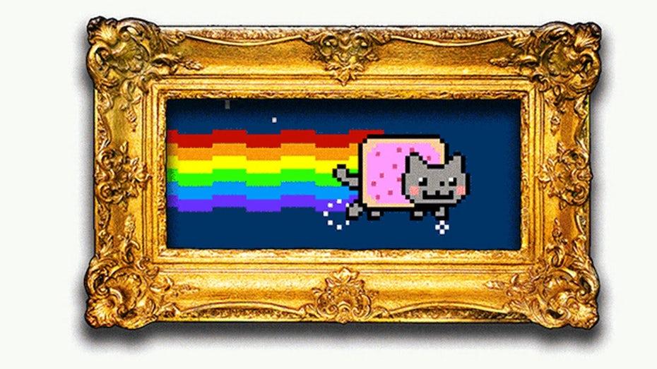 猫与poptart身体被称为nyan猫作为框架nft