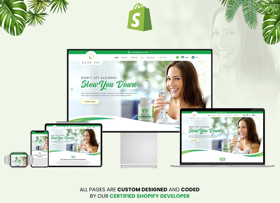 landing page for ecommerce brand Good Day