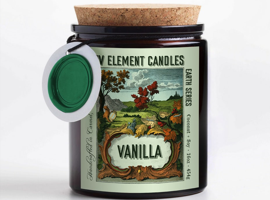 candle with a colorful label