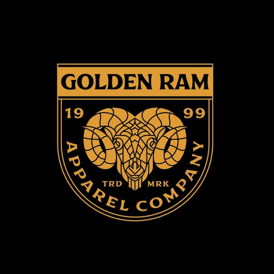 gold variations of a logo against a black background