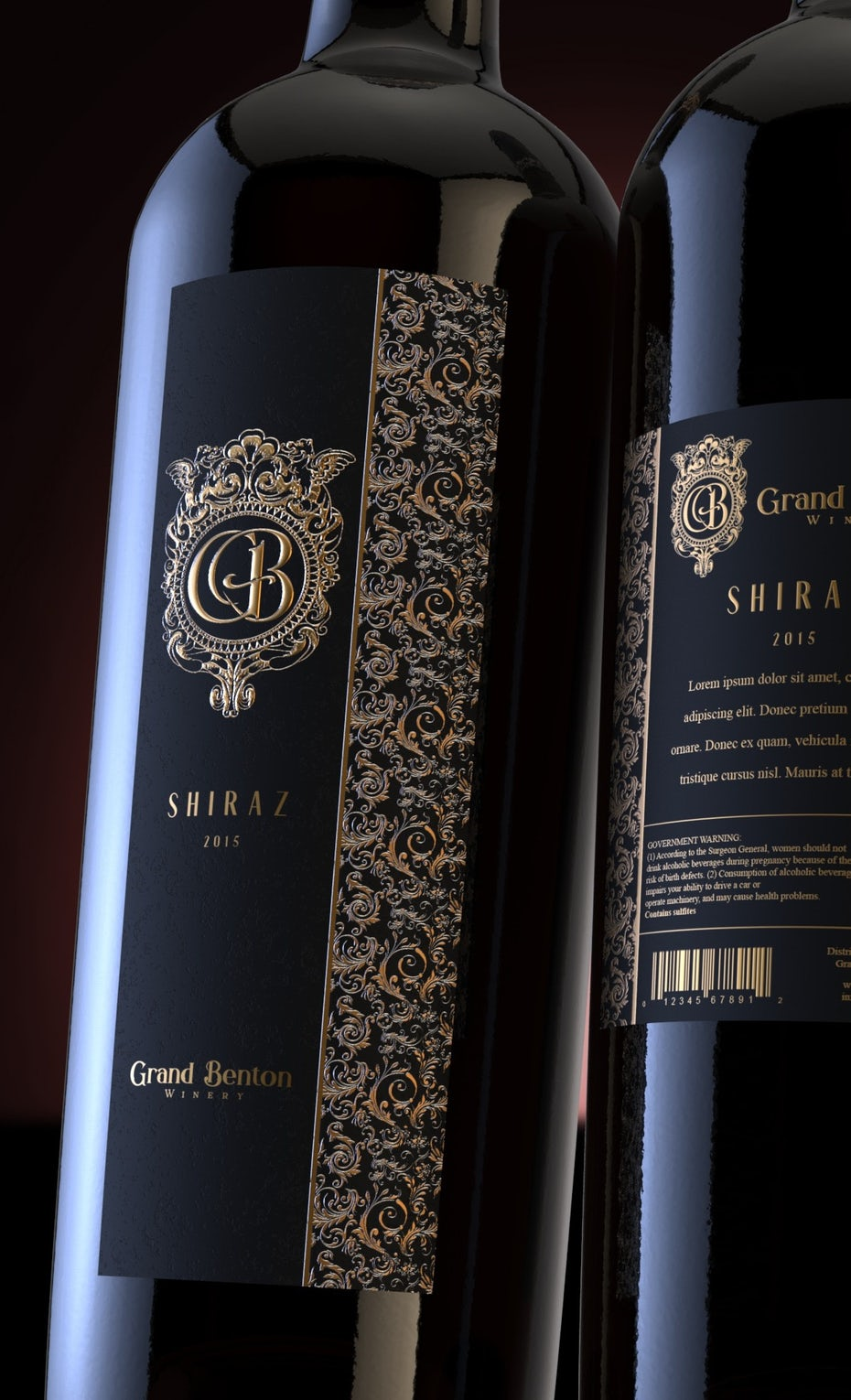 front and back of a wine bottle with a black and gold label