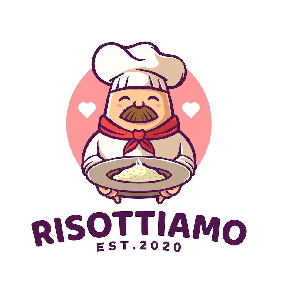 Logo design of a cartoon chef