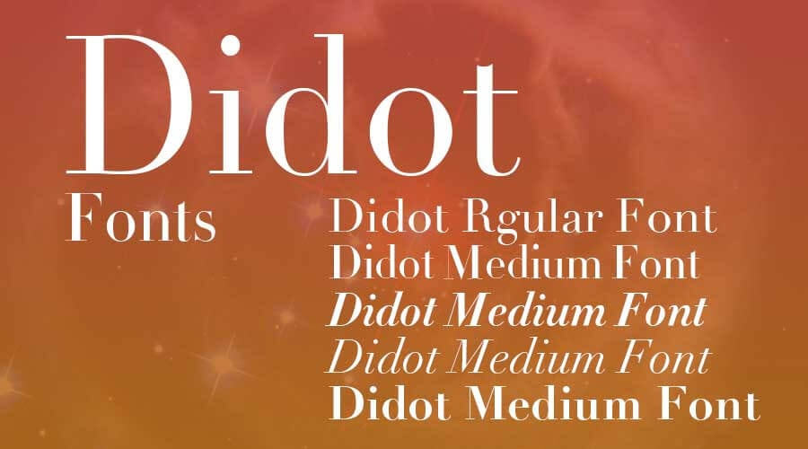Didot typeface and font variations against a tan gradient background