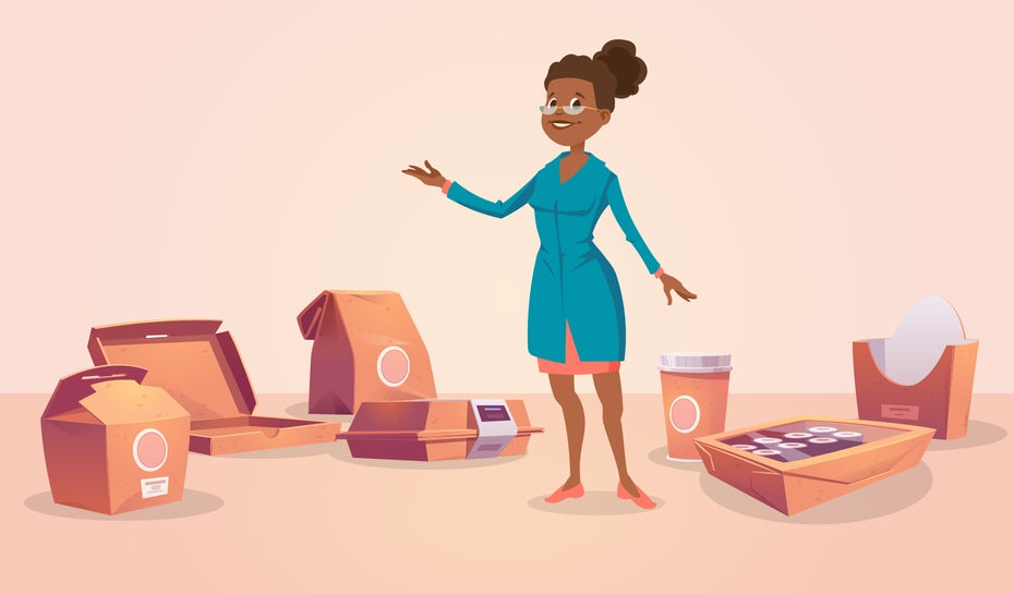 Illustration of woman surrounded by food delivery packaging