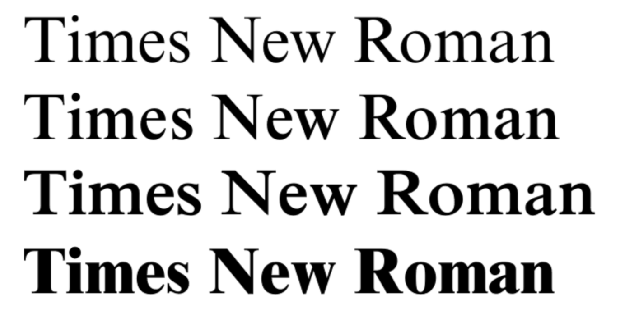 variations of Times New Roman