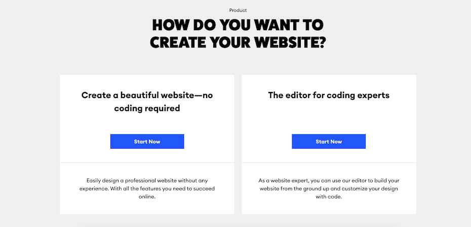 """screenshot of """"How do you want to build your website"""" page"""