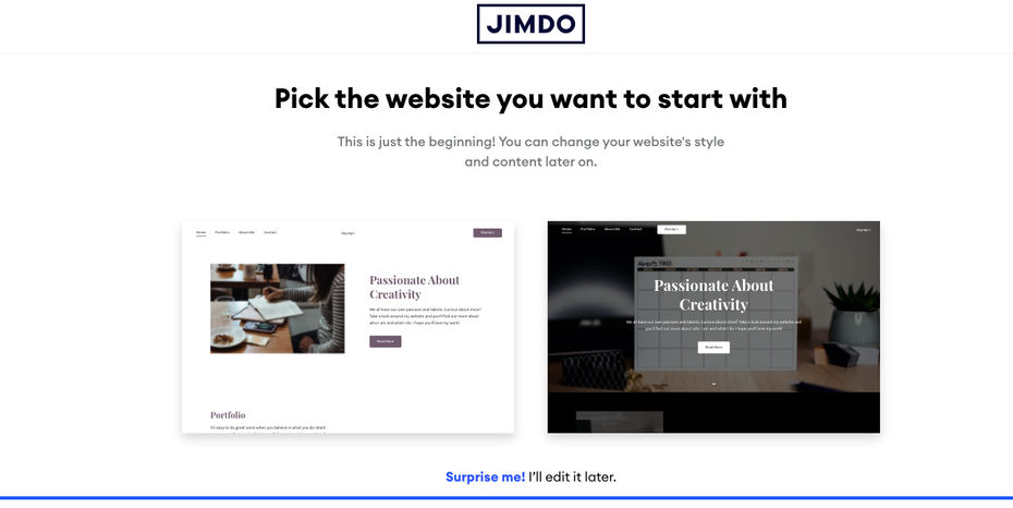 screenshot of Pick the website you want to start with page