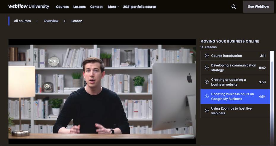 Screenshot of Webflow tutorial example: Webflow University