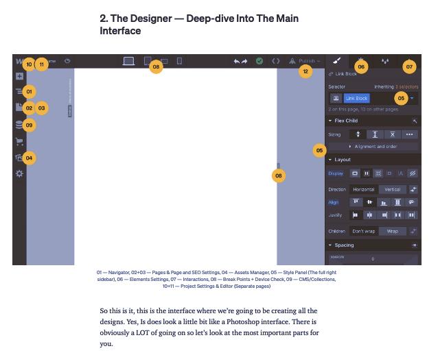 Screenshot of Webflow tutorial example: The Easiest Guide to Webflow for Beginners by Jan Losert