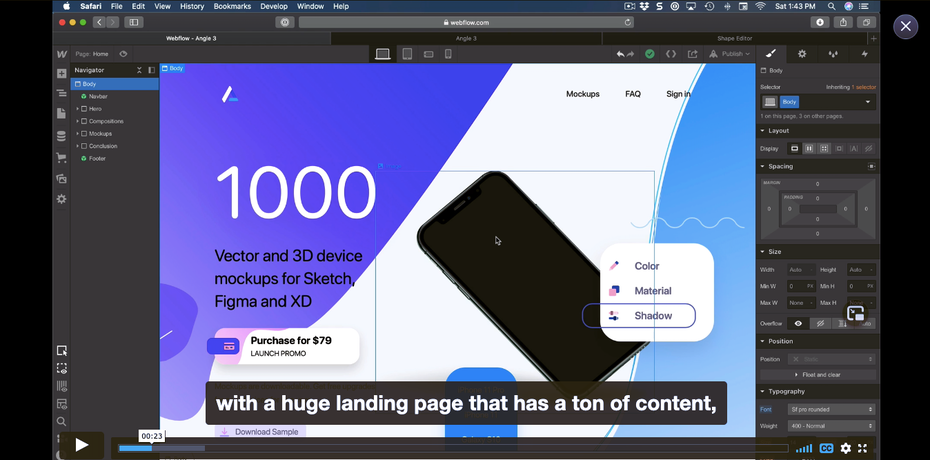Screenshot of Webflow tutorial example: Design+Code