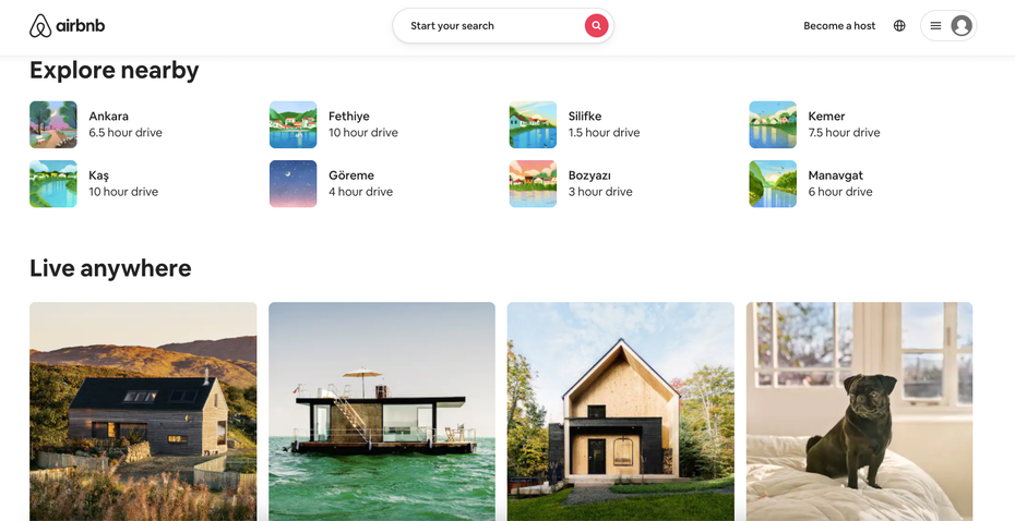 Airbnb explore nearby
