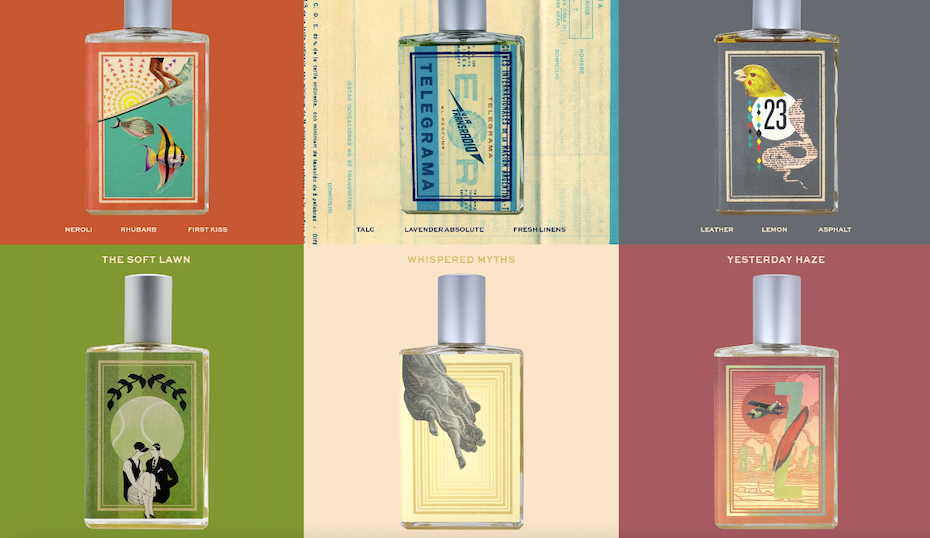 A grid of colorful, artistic perfume bottle label designs