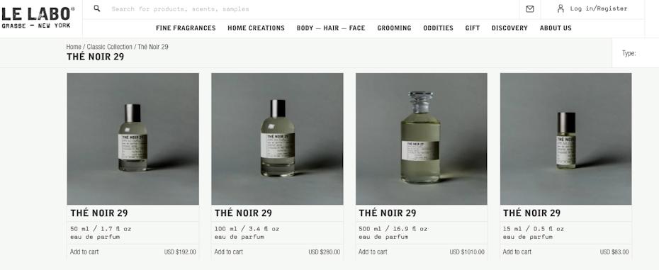 Perfume bottle design in varying sizes