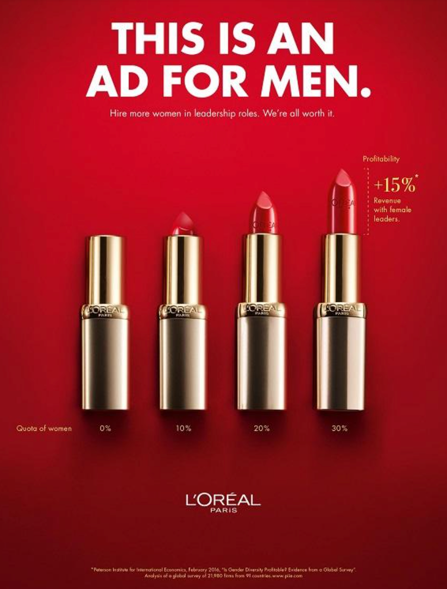 L'Oreal ad showing four lipsticks side by side with white text
