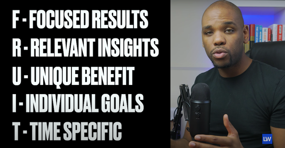 on the left: FRUIT = Focused results, relevant insights, unique benefit, individual goals, time specific, on the right: and man speaking into a mic