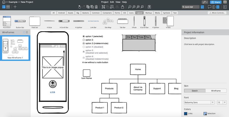 Balsamiq wireframe user interface