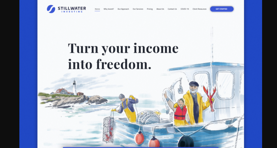 illustration-style website design showing a boy and a man on a lobster boat while another man brings up a lobster trap