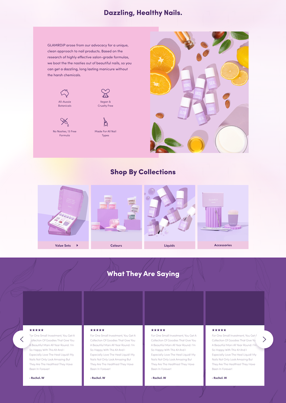 Pink and lilac themed cosmetics website design
