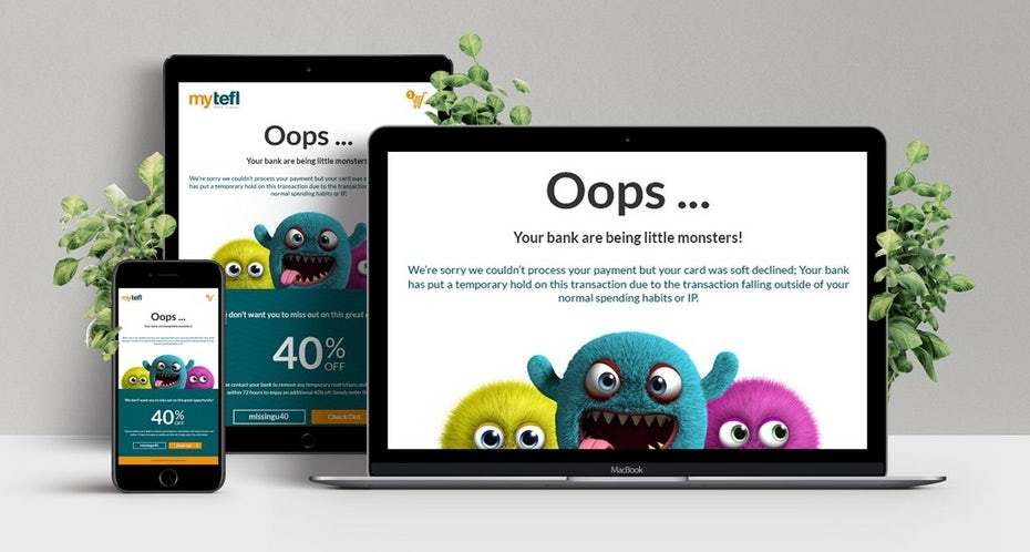 website featuring three colorful 3D rendered monsters