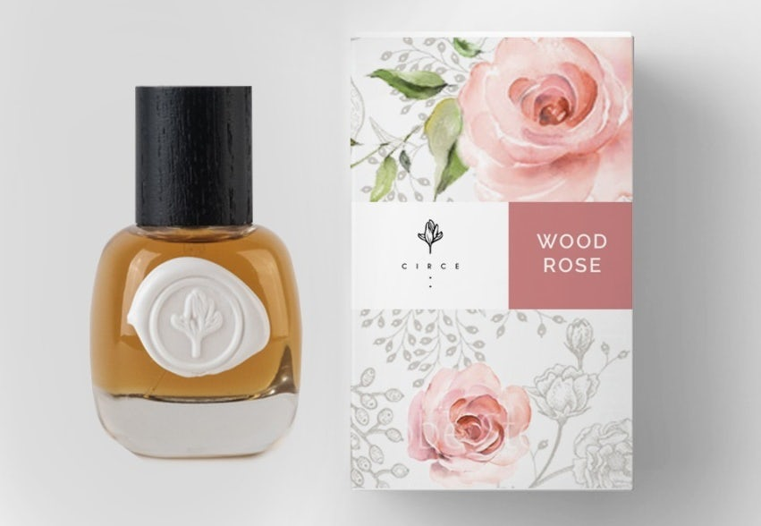 Perfume label design with a wax seal label