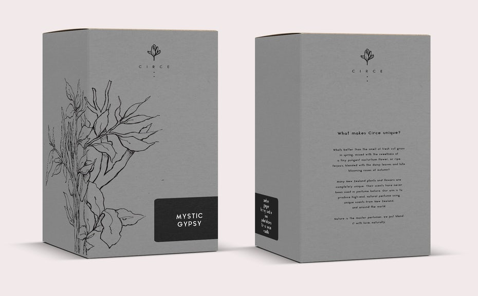 Perfume box packaging design with nature illustration