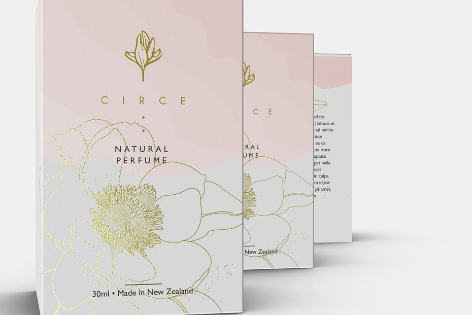 Pink and gold perfume branding design