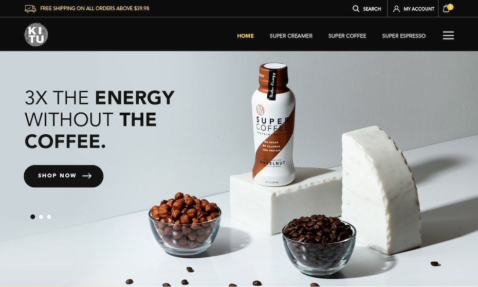 white website with images of the bottled product and bowls of coffee beans