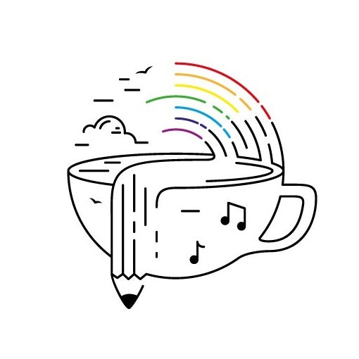 line illustration of a coffee cup, a rainbow, music notes and a pencil