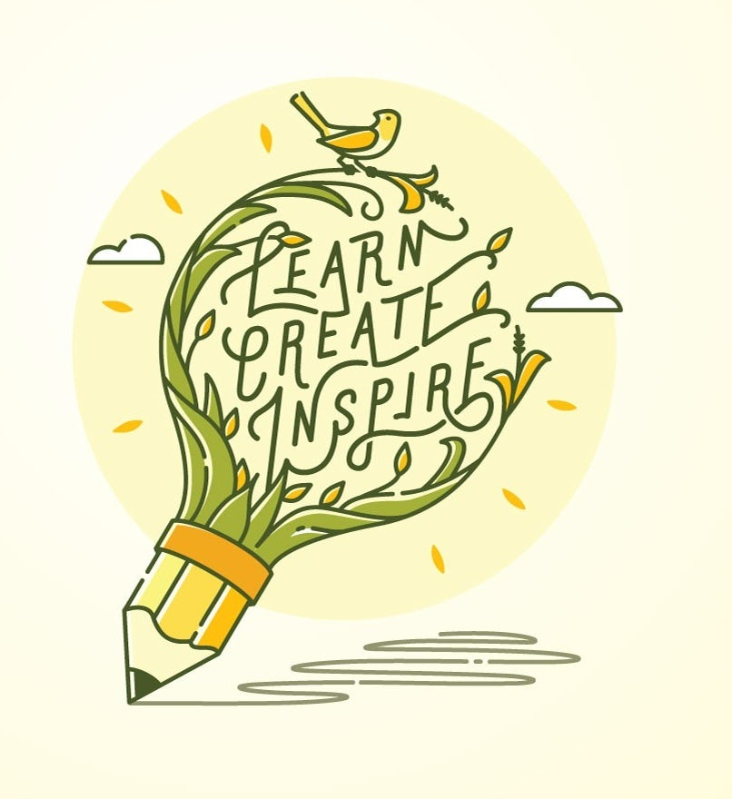 illustration of a round light bulb with a pencil for the tip and leaves with text
