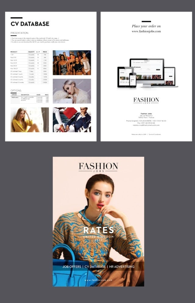 Data-heavy brochure spread for job-seekers in the fashion industry
