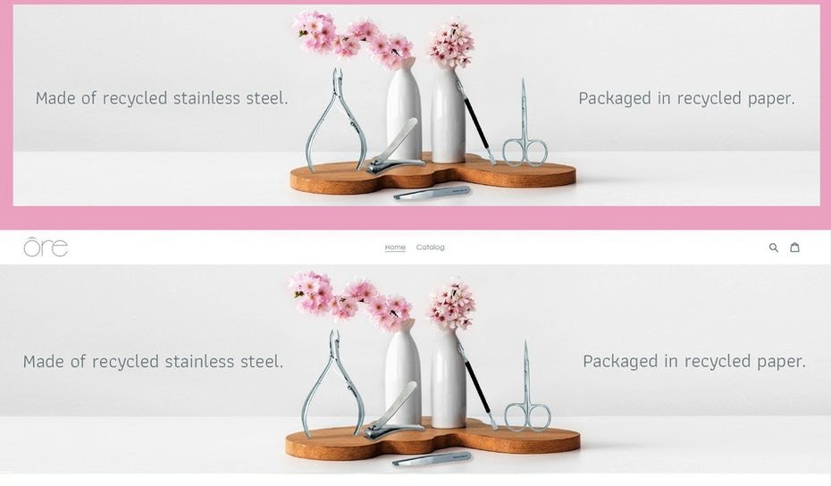 social media banner showing pink flowers in a vase and text