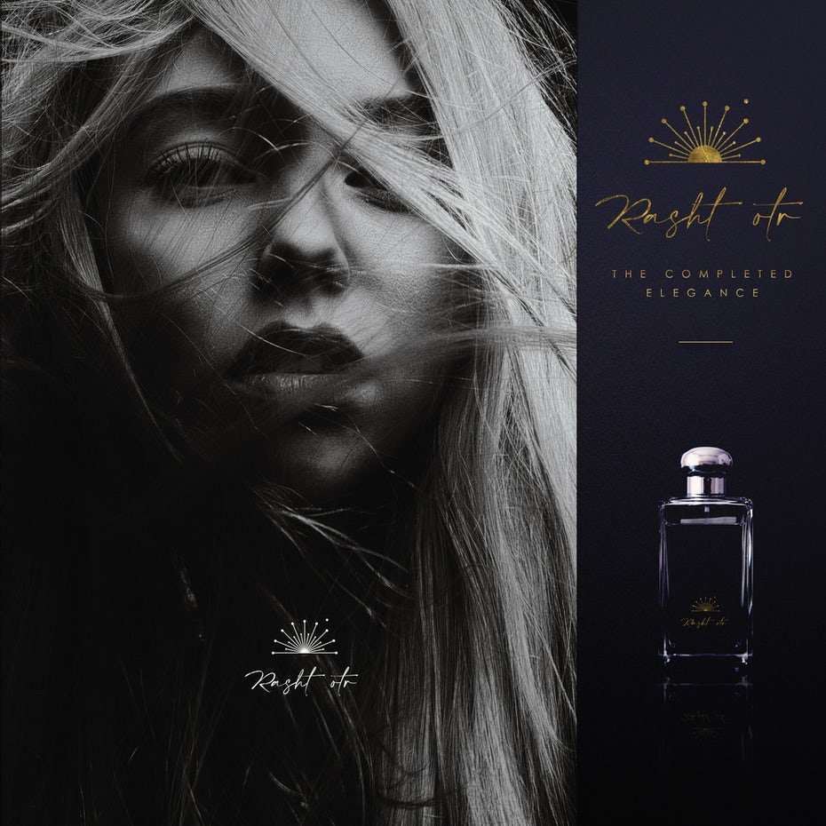 Perfume branding design with black and white photography