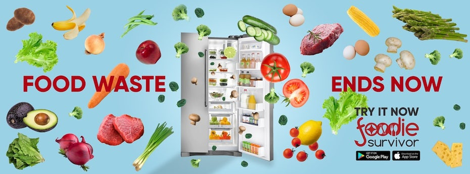 Facebook banner ad showing food flying out of a refrigerator