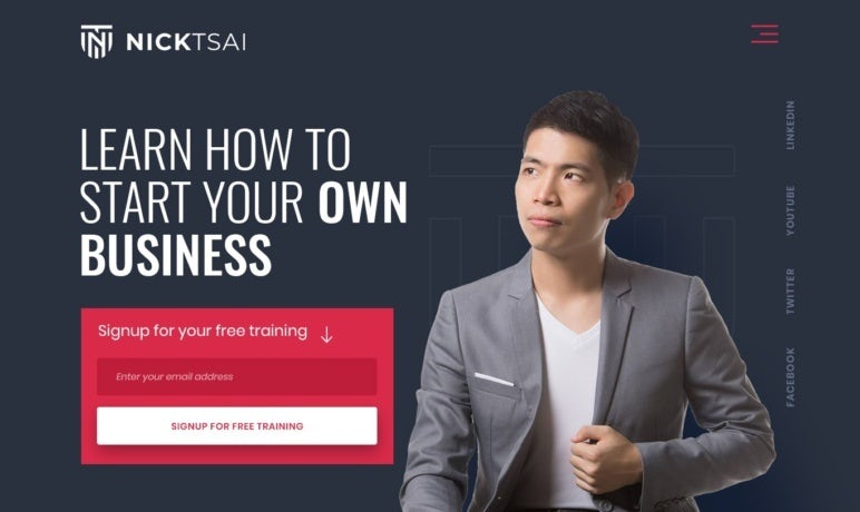 website design showing a man and a red CTA button