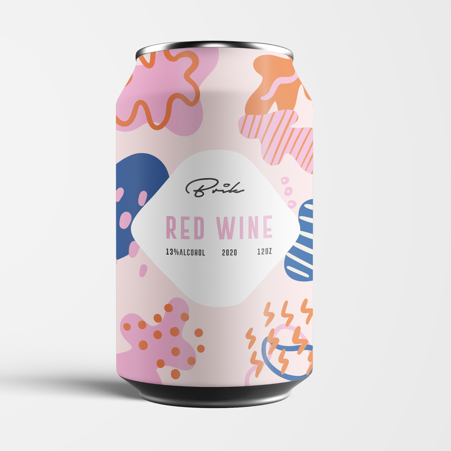 A wine can label design with organic shapes