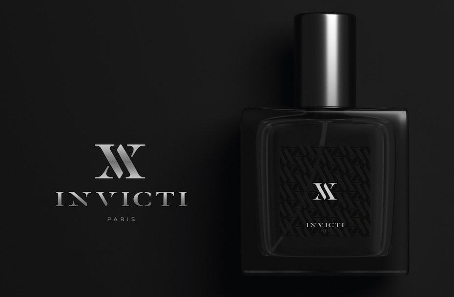 Silver serif logo design for perfume brand