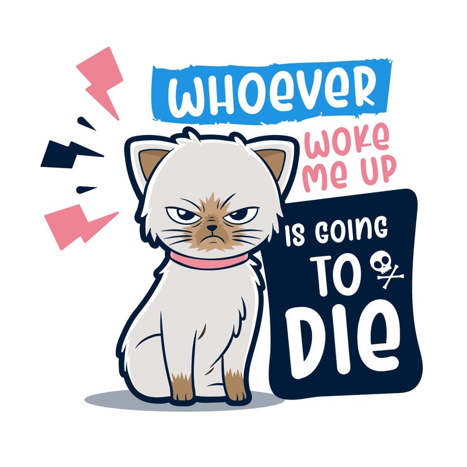 illustration of an upset cartoon cat with text